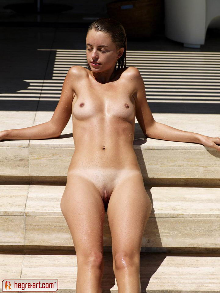 Girl with tan lines stripping naked